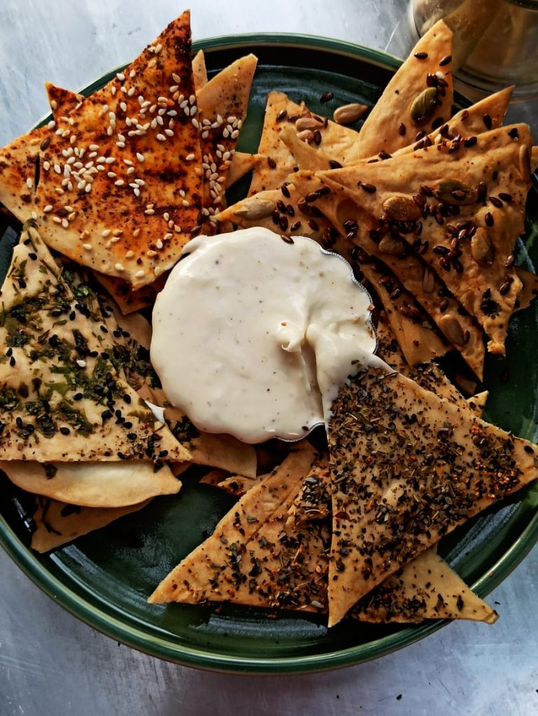 Savoury Lavash crackers with Cheese dip